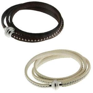 【送料無料】ブレスレット アクセサリ― イタリアンレザーラップブレスレットステンレススチールビーズクラスプitalian leather 3wrap bracelet w inlaid stainless steel beads amp; magnetic clasp