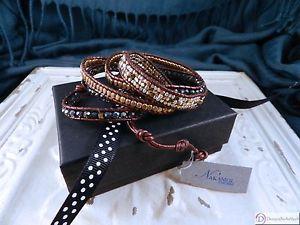 【送料無料】ブレスレット アクセサリ― レザーチェコクリスタルラップブレスレットボタンnakamol leather amp; czech crystal wrap bracelet ~ 32 ~ adjustable button clasp