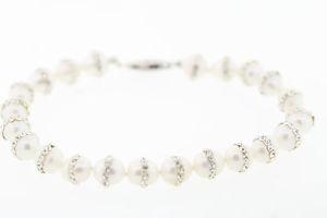 【送料無料】ブレスレット アクセサリ― スターリングシルバーパールブレスレットマクラメクリスタルアクセントsterling silver 65mm white oblong pearl bracelet w macrame crystal accents