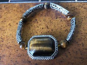 【送料無料】ブレスレット アクセサリ― タイガーアイシルバートーンストレッチブレスレットgenuine tigers eye amp; silver tone filigree stretch bracelet