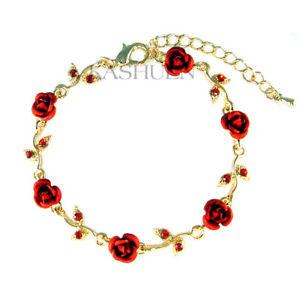 【送料無料】ブレスレット アクセサリ― スワロフスキークリスタルブレスレットバラred rose flower made with swarovski crystal floral bridal wedding gold bracelet