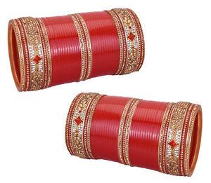【送料無料】ブレスレット アクセサリ― デザイナーゴールデンウェディングブライダルコレクションセットdesigner suhag chura golden wedding gift bridal chura collection set