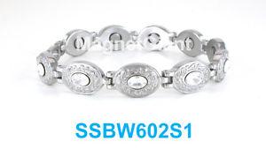 【送料無料】ブレスレット アクセサリ― シルバークリアステンレススチールリンクブレスレットoval silver with clear crystals women magnetic stainless steel link bracelet