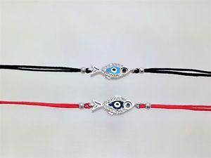 【送料無料】ブレスレット アクセサリ― ストリングブレスレット925スターリングダブルjewelrred string evil eye fish bracelet 925 sterling silver double side fashion jewelr