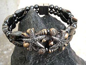 【送料無料】ブレスレット アクセサリ― ブレスレットダブルシルバースターフィッシュシェルwomens magnetic bracelet 2 row w double silver starfish w shells therapeutic