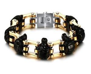 【送料無料】ブレスレット アクセサリ― メンズゴールドオートバイチェーンステンレススチールバイカースカルブレスレットmens heavyweight gold motorcycle chain stainless steel biker skull bracelet 9