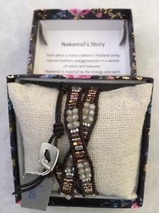 【送料無料】ブレスレット アクセサリ― ボタンラップブレスレットnakamol leather,metals,stones wrap bracelet with button clasp 22
