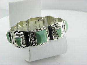 【送料無料】ブレスレット アクセサリ― タスコアルパカグリーンブレスレット#taxco alpaca 725 green stone statement bracelet 31