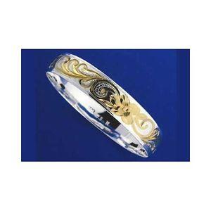 【送料無料】ブレスレット アクセサリ― シルバーハワイアンブレスレットメタルプルメリアスムーズスクロールエッジトーンsilver 925 hawaiian bracelet rigid plumeria scroll smooth edges 6mm 2 tones