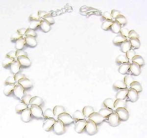 【送料無料】ブレスレット アクセサリ― 925hawaiian plumeria flower link bracelet cz 2t15mm 7silver 925 hawaiian plumeria flower link bracelet cz 2t 15mm 7