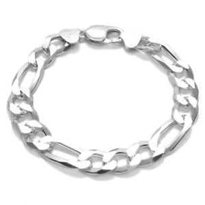 【送料無料】ブレスレット アクセサリ― スターリングシルバーソリッドフィガロチェーンメンズブレスレットゲージ925 sterling silver solid figaro link chain mens bracelet 10mm 300 gauge