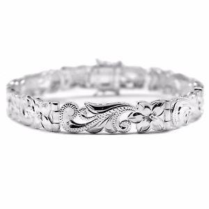 【送料無料】ブレスレット アクセサリ― スターリングシルバーハワイアンハイビスカスプルメリアブレスレットソリッドカフ925 sterling silver hawaiian hibiscus plumeria bracelet engraved solid cuff