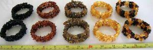 【送料無料】ブレスレット アクセサリ― バルトブレスレットワイヤーチップビーズロットbaltic amber adult bracelets memory wire polished chips beads whole lot 10