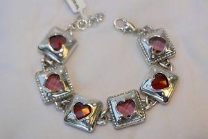 【送料無料】ブレスレット アクセサリ― ブライトンシルバーレッドピンクハートクリスタルブレスレット authentic brighton open hearted silver red pink heart crystal bracelet