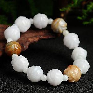 【送料無料】ブレスレット アクセサリ― ナチュラルカラフルビーズブレスレット100 natural grade a jadeite jade fine carved flower colorful beads bracelet