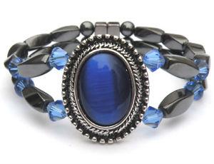 【送料無料】ブレスレット アクセサリ― sapphire swarovski crystal 2rowmagpendantブレスレットアンクレットwomen magnetic magpendant bracelet anklet with sapphire swarovski cry