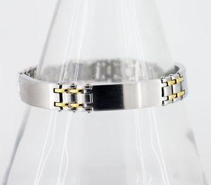 【送料無料】ブレスレット アクセサリ― メンズステンレススチールトリプルパネルブレスレットゴールドmens triple id panel bracelet in stainless steel with gold interlinks