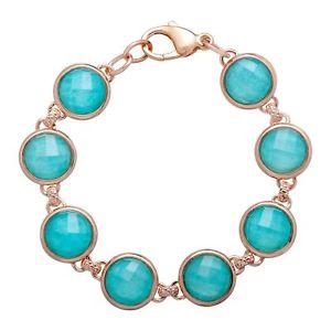 【送料無料】ブレスレット アクセサリ― kローズブロンズブレスレット27 ct quartz amp; amazonite bracelet in 18k rose goldplated bronze