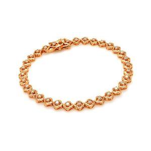 【送料無料】ブレスレット アクセサリ― スターリングシルバーローズゴールドテニスブレスレットsterling silver rose gold plated cz stones tennis bracelet