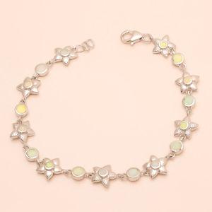 【送料無料】ブレスレット アクセサリ― エチオピアオパールフラワーブレスレットクリスマスethiopian fire opal flower charm bracelet 925 sterling silver christmas jewelry