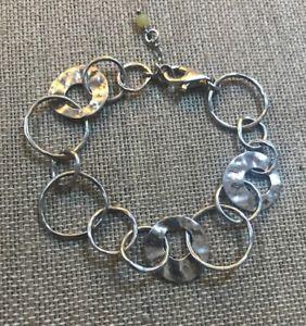【送料無料】ブレスレット アクセサリ― スターリングシルバーサークルペーパーチェーンブレスレットsilpada sterling silver hammered circle paper chain bracelet b1217 euc