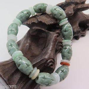 【送料無料】ブレスレット アクセサリ― ビーズブレスレットビーズクロス× greenjadeite jade bead bracelet perfect oval green beads carved cross10*15mm