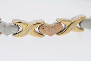 【送料無料】ブレスレット アクセサリ― ステンレスブレスレットgold plated tritone stainless steel heart 65mm wide bracelet 8
