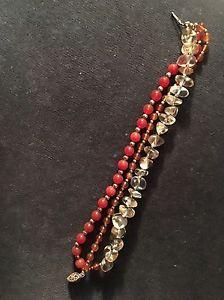 【送料無料】ブレスレット アクセサリ― オレンジバーミリオンオレンジビーズブレスレット listingvintage orange vermillion amber resin bead bracelet