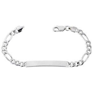 【送料無料】ブレスレット アクセサリ― スターリングシルバーフィガロリンクブレスレットイタリア listing6mm sterling silver figaro link id 79 bracelet, free engraving, made in italy