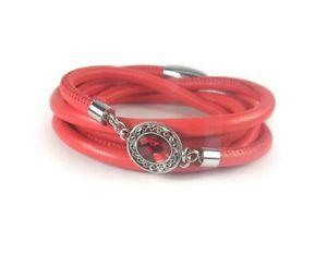 【送料無料】ブレスレット アクセサリ― レッドラップブレスレットred leather wrap bracelet with bezel charm