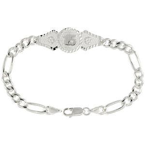 【送料無料】ブレスレット アクセサリ― スターリングシルバーフィガロsterling silver quinceanera 15 figaro braceletmesh