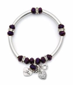 【送料無料】ブレスレット アクセサリ― ビビシルバーマカロニブレスレットbibi bijoux purple amp; silver tone macaroni charm bracelet