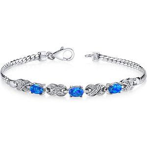 【送料無料】ブレスレット アクセサリ― オパールブレスレットスターリング3ストーンcreated blue opal eternity bracelet sterling silver 3 stone