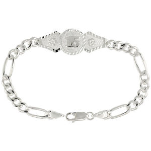 【送料無料】ブレスレット アクセサリ― スターリングシルバーフィガロリンクブレスレットsterling silver quinceanera 15 figaro link bracelet