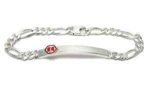【送料無料】ブレスレット アクセサリ― 925 スターリング7medicalフィガロリンク6mm925 sterling silver 7 personalized medical figaro link id bracelet 6mm