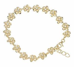 【送料無料】ブレスレット アクセサリ― イエローゴールドメッキシルバーハワイアンファンシープルメリアフラワーブレスレットyellow gold plated silver hawaiian fancy plumeria flower bracelet cz 8mm 75
