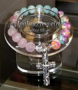 【送料無料】ブレスレット アクセサリ― スターリングクロローズコーツltトルコアマゾナイトヨガブレスレットsterling silver cross rose quartz lt turquoise amazonite gemstone yoga bracelet