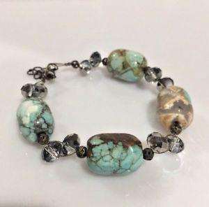 送料無料 ブレスレット アクセサリ― トルコブレスレットストーンturquoise and crystal bracelet marbled stone exquisite8nOX0wPk