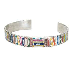 【送料無料】ブレスレット アクセサリ― ブックカフブレスレットカラフルエナメルwomens books cuff bracelet colorful enameled literary jewelry