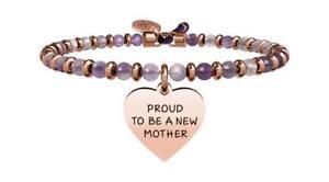 【送料無料】ブレスレット アクセサリ― ブレスレットスチールローズアメジストyoung adult bracelets steel pvd rose amethyst special moments heart  mother 7