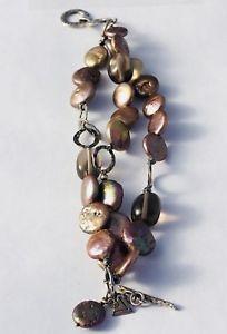 【送料無料】ブレスレット アクセサリ― スターリングシルバーコインパールスモーキートパーズブレスレットsilpada sterling silver coin pearl amp; smoky topaz bracelet b1850