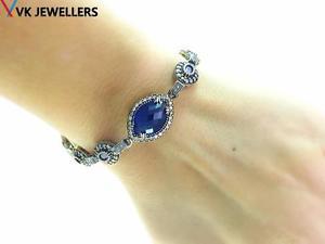 【送料無料】ブレスレット アクセサリ― トルコエルスルタンハンドメイドジュエリースターリングシルバーサファイアブレスレットturkish el sultan handmade jewelry 925 sterling silver sapphire bracelet b2782