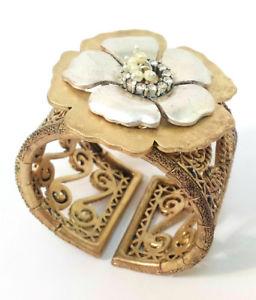 【送料無料】ブレスレット アクセサリ― ゴールドブレスレットヴィンテージ evita peroni gold bracelet pearls amp; crystals flexible vintage jewelry