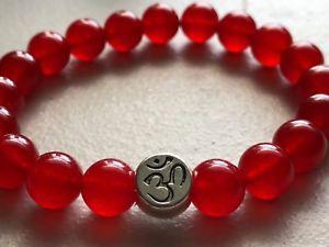 【送料無料】ブレスレット アクセサリ― シルバーオムオウムエネルギーブレスレットsilver om aum red crystal agate 8mm spiritual protection energy bracelet 75