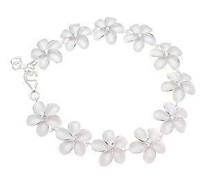 【送料無料】ブレスレット アクセサリ― シルバーハワイアンプルメリアフラワーリンクブレスレットポンドsterling silver 925 hawaiian plumeria flower link bracelet cz 15mm 7