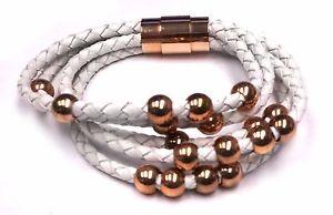 【送料無料】ブレスレット アクセサリ― ローズステンレススチールブレスレットワウwhite braided natural leather and rose plated stainless steel bracelet wow