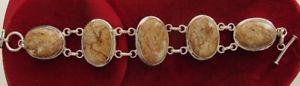 【送料無料】ブレスレット アクセサリ― ベゼルコケジャスパーセットスターリングリンクブレスレット8 12 5 stone bezel set moss jasper amp; sterling link bracelet