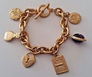【送料無料】ブレスレット アクセサリ― ビンテージグロリアヴァンダービルトゴールドトーンパープルガラスチェーンブレスレットvintage gloria vanderbilt gold tone purple glass stone charm chain bracelet