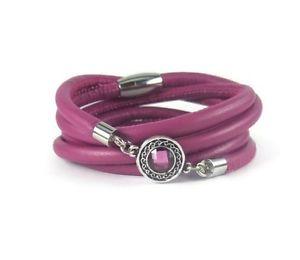 【送料無料】ブレスレット アクセサリ― フクシアレザーベゼルラップブレスレットfuchsia leather wrap bracelet with bezel charm