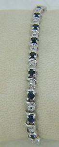 【送料無料】ブレスレット アクセサリ― グラムスターリングシルバーサファイアブレスレット123 grams sterling silver amp; synthetic sapphire 7 14 bracelet a47
